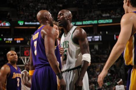 Garnett was one of the game's best trash talkers. Here he comes face-to-face with the Lakers' Lamar Odom