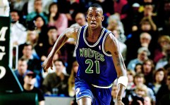 In action during his rookie year for the Timberwolves (1995-96)