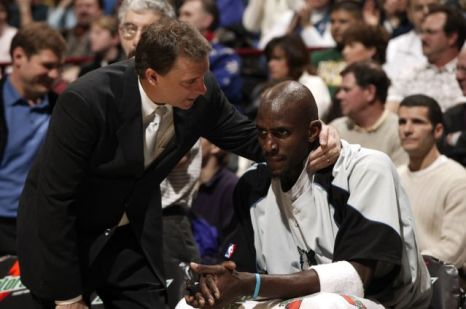 Pictured here with long time coach Flip Saunders. Saunders sadly passed away in late 2015 and Garnett struggled to cope with the loss.