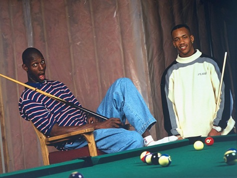 Relaxing with Timberwolves teammate Stephon Marbury
